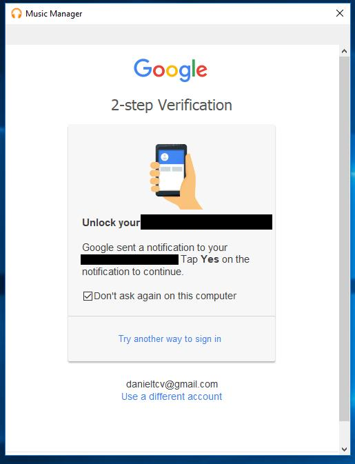 google music manager - 2 step verification